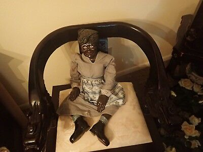 "BLACK antique 30"" Doll  Ceramic / Bisque Head and Limbs"