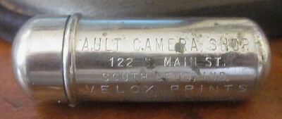 VTG Ault Camera Shop South Bend Indiana IN Metal Canister Sewing Thread Holder