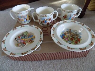 "Royal Doulton ""Bunnykins"" Lot of 3 cups, a bowl and plate"