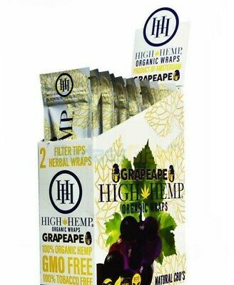 High Hemp Organic Wrap Full Box 25 Pouches, 2 Wraps per Pouch 50 Wraps Grape Ape