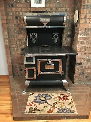 Antique stove, Woods-Evertz, Black/silver, kitchen wood burning, circa 1930's
