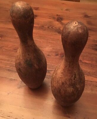 "Set of 2 Antique Vintage Solid Harf Wood Bowling Pins 15"" Tall Lathe Turned Nice"