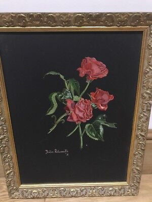 Vintage Original Oil On Board Painting, Delia Portsmouth, Red Roses, Art❤️