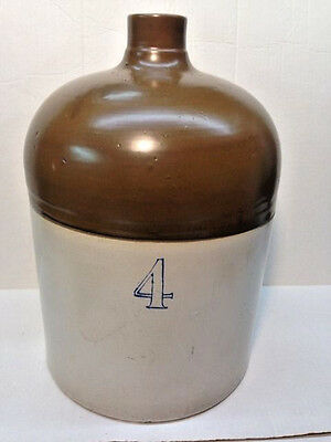 4 Gallon Antique Beehive Salt Glaze Cobalt Blue Decorated Stoneware Whiskey Jug