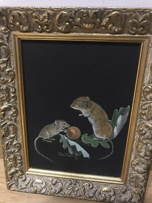 Vintage Original Oil On Board Painting, Delia Portsmouth, Harvest Mice, Art❤️
