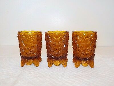 """3 Vintage Home Interior Amber Glass Votive Cup Sconce Candle Holders 3 1/4"""""""