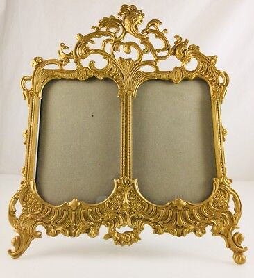 Vintage ornate double stand up metal frame gold cast iron metal unusual heavy