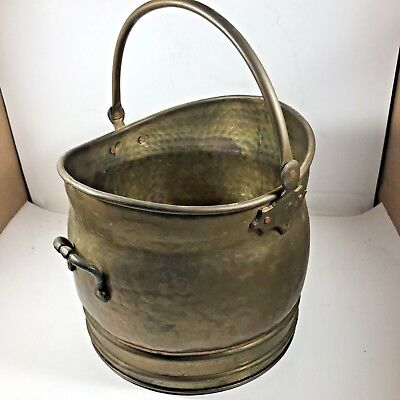 Vintage Brass Coal Scuttle Bucket, Fire Tools, Planter Trough Plant Pot