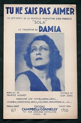 Singer DAMIA  1910s-1920s French Sheet Music printed in France (Lot of 10)