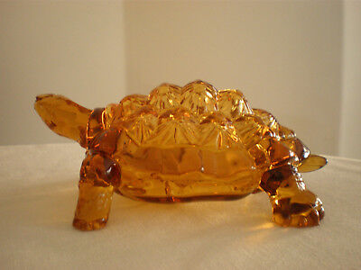 Large WRIGHT Amber Glass Coverd TURTLE / TORTOISE Dish