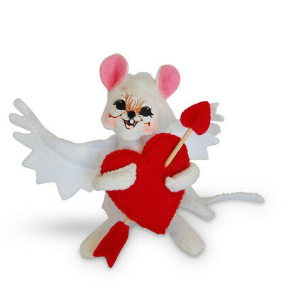 """ANNALEE ~ 2017 ~ Valentines ~ 5"""" ~ """"Cupid Mouse"""" ~  White Mouse ~ #100317 ~ NWT"""