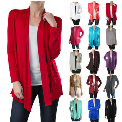 USA NEW Womens Cardigan Long Sleeve Open Front Draped Solid Irregular Hem S~XL