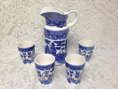 Vintage, Japan, Blue Willow 5pc Juice- Ice Tea Set, 9in Pitcher, 3.5in Tumblers