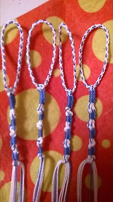 NEW, Sky Blue/White, Knotted style, BRAIDED LOOPS, Tzit Tzits, Tzitzits, Tzitzit
