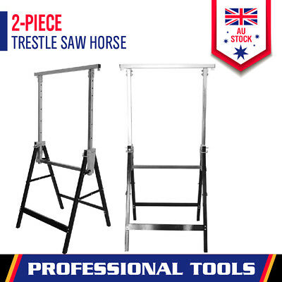 2x Telescopic Saw Horse Metal Folding Trestle Work Bench Stand Adjustable Height