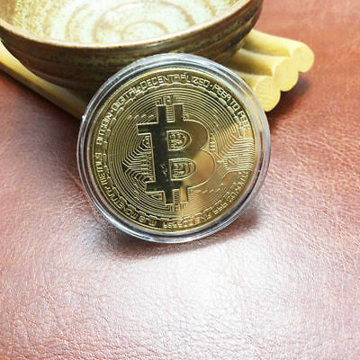 Bitcoin Coins Gold Plated Physical Commemorative Bitcoin Coin With Acrylic Case
