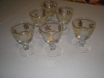 Set of 2 vintage Libbey Gold Foliage Leaf frosted stem Glasses with Ice Bucket