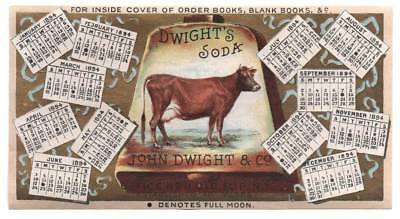 Scarce John Dwight's Soda trade card or label 1894 Calendar & superb graphics