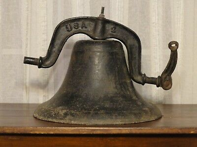 Antique USA #2 Crystal Metal Cast Iron Farm / School / Church Bell 15""
