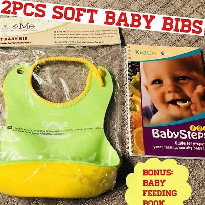 Soft Baby Bib,Yellow/Green,2 Pack Bonus Healthy Baby Food Recipe Book.Brand New