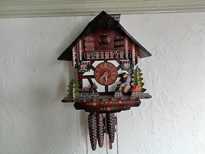 1 Pre-Owned Schneider Cuckoo Clock Black Smith Forest German Edelweiss Music