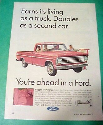 "1967 Ford Pickup Truck F-100 Original Vintage Print Ad ""you're Ahead In A Ford"""
