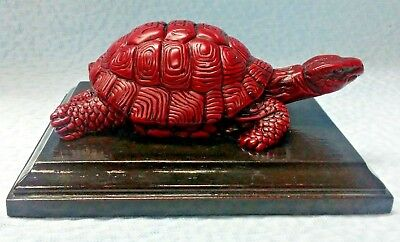 Red Resin Snapping Turtle Figurine With Wood Stand*