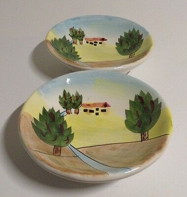 """LOT 2 Elements Bowl Hand Painted Home Scene Made in Japan 4-1/2"""" W"""