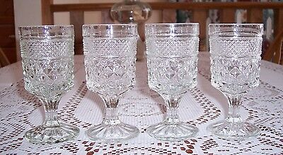 """4 STEMMED GOBLETS GLASSES - WEXFORD by ANCHOR HOCKING - 5 oz- 5 1/4"""" tall"""