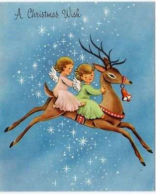 Unused Reindeer Deer Pretty Angel Pink Girl Lady Kid VTG Christmas Greeting Card