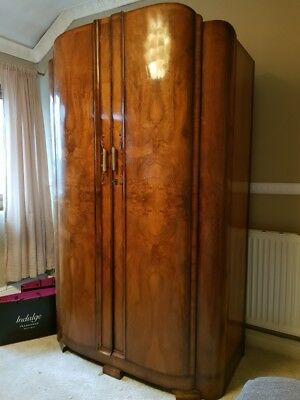 Set of two matching antique wardrobes, armoire, cupboards bedroom suite