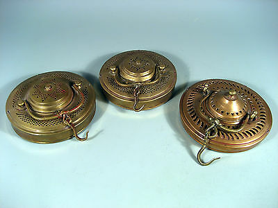 Hindu Brass Hanging Candle Holders,Pierced Decoration ca 19th C.