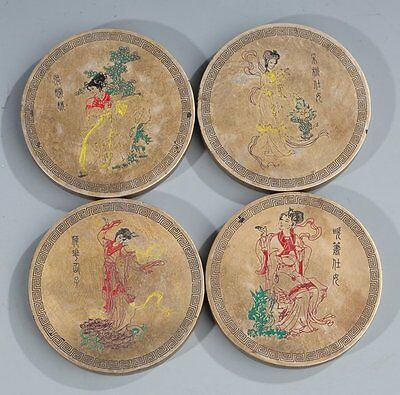 Chinese Set Of Four Bronze Qing Dynasty Paperweights With Figures ca.Late 19thC.