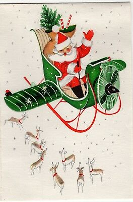 Santa Claus Airplane Plane Deer Reindeer Hallmark VTG Christmas Greeting Card