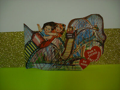 antique ROLLER COASTER amusement park Vintage Valentine Card