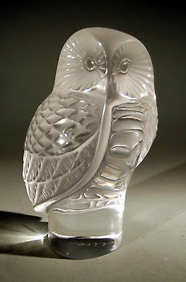 """France French Lalique Owl """"Chouette"""" Crystal Paperweight ca. 20th century"""