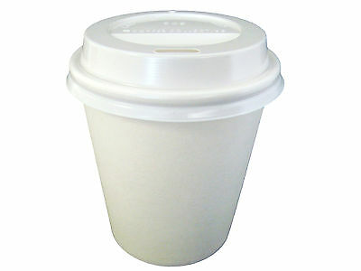 50 Sets 6oz White Single Wall Paper Coffee Cups And Lids 177ml Disposable