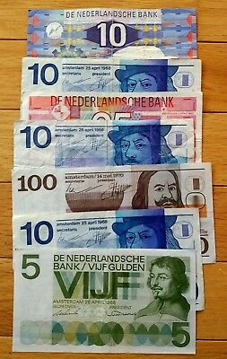 170 Netherlands Gulden 7 pieces banknote lot
