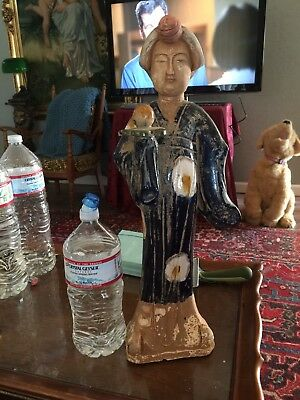Vintage China Fat Lady Tang Dynasty? Large Clay Statue