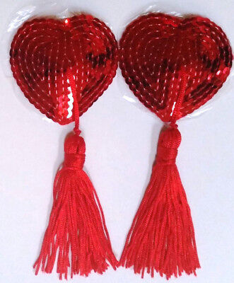 Red Reusable Silicone & Sequin PASTIES with Tassles ~ Sexy Nipple Covers