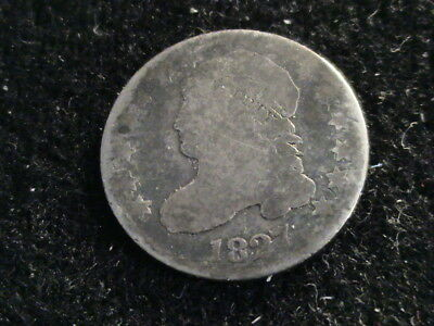 1827 Capped Bust Silver Dime, full date, almost full liberty    D713