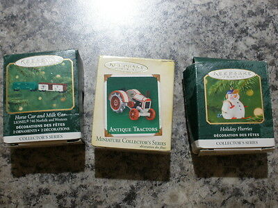 Lot Of 3 Hallmark Miniature Die-Cast Tractor,holiday Flurries,lionel Train Cars