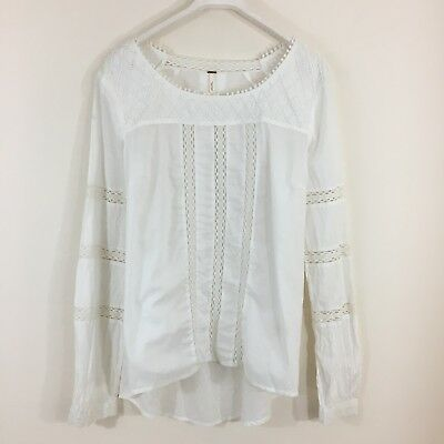 1f7149f26ea4e FREE PEOPLE BEADED Lace Top Medium Boho Cotton Crochet Peasant ...