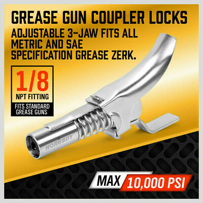 New Quick Release One Hand Grease Gun Coupler Alemlub NPT Fitting 10000psi 14512