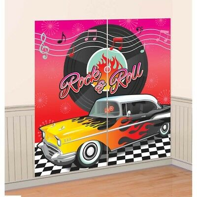 50s Classic Rock N Roll Birthday Scene Setter Wall Banner Party Decoration