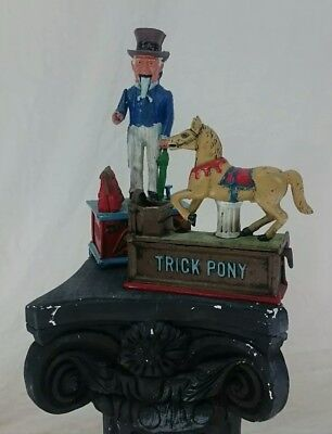 Lot of 2 Cast Iron Coin Banks Vintage Uncle Sam And New Trick Pony