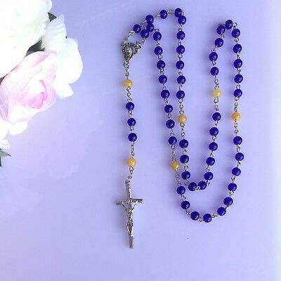 Rosary Bead Necklace Christian Jesus Chain Cross