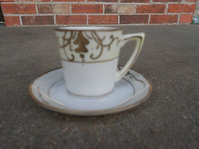 Vintage JAPAN Hand Painted Demitasse CUP and SAUCER Gold White Light Yellow