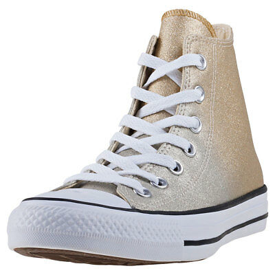 Converse Chuck Taylor All Star Hi Womens Gold Synthetic Casual Trainers  Lace-up b0891f04b
