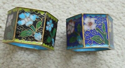 Vintage Chinese Cloisonne Floral Napkin Serviette Ring set of 2